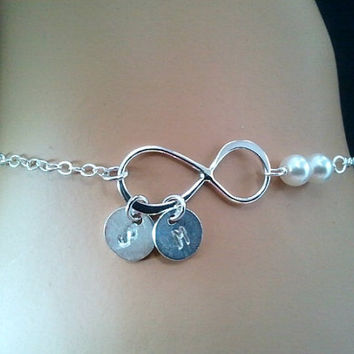 PERSONALIZED INITIAL Infinity love with Peals Bracelet  - Best Friend Gift, bridesmaid gifts,Wedding jewelry,flower girl