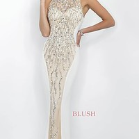 Long Beaded Prom Dress from Intrigue by Blush