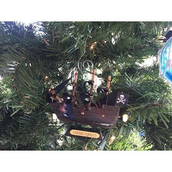 Wooden Caribbean Pirate Ship Model Christmas Ornament 4""