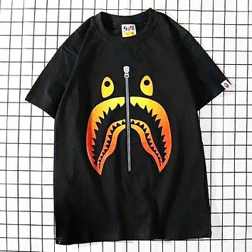 Bape Aape Summer Fashion New Shark Zipper Print Women Men Top T-Shirt