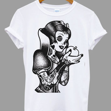 Tattoo Princess Snow White Popular Item on etsy for Funny Shirt, T shirt Mens and T shirt ladies size S, M, L, XL, XXL