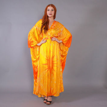 Vintage 60s CAFTAN / 1960s Silky Bright Orange Batik Print Keyloun Bohemian Maxi Dress