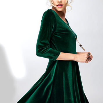 Lap of Luxury Emerald Long Sleeve Velvet Dress