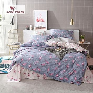 Cool SlowDream Pink Flamingos Bedding Set Comforter Bedspread Duvet Cover Double Bed Sheets Linens Twin Queen King Adult BedclothesAT_93_12