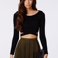 Missguided - Chara Bandage Waist Crop Top In Black