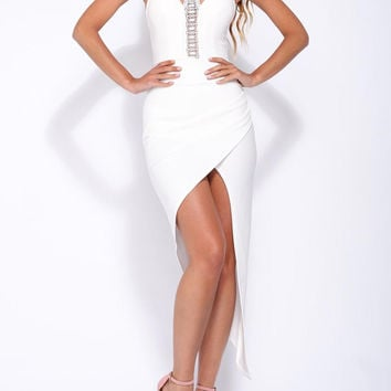 White Crochet Panel Cut Out Front Asymmetric Wrap Dress