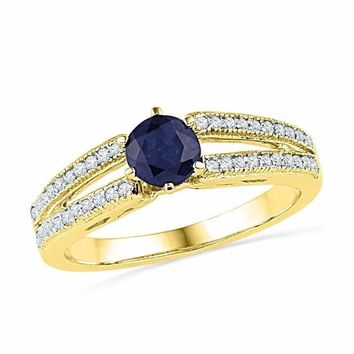 10kt Yellow Gold Women's Round Lab-Created Blue Sapphire Solitaire Split-shank Ring 1-5 Cttw - FREE Shipping (US/CAN)