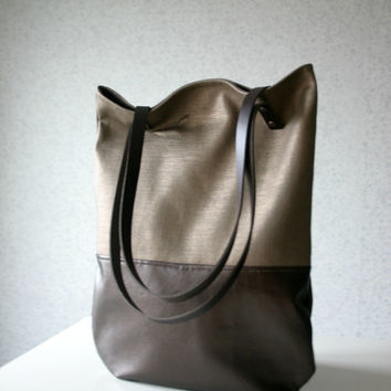 Metallic Linen and Leather Bag leather Handles Straps Bronze