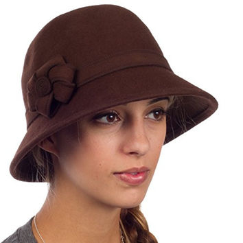 Sakkas 20M Molly Vintage Style Wool Cloche Hat - Brown - One Size