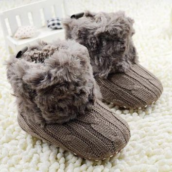 Baby Shoes Kid knitted Fur Snow Boots 5 Color Toddlers Soft Boots 0-18
