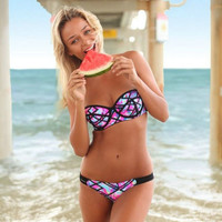 Women Floral Push-up Padded Bra Bandage Bikini Set Bathing Swimwear Swimsuit NEW
