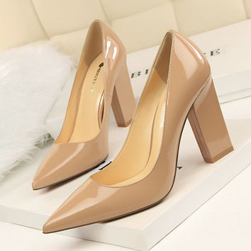 New Women Summer Nude Pumps Fashion Tick Heeled High Heels Shoes Shallow Pointed Sexy Satin Silk Flock  OL Single Shoes G5239-1
