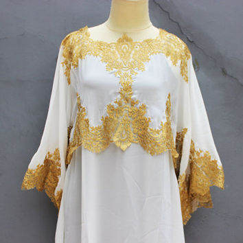 Women's Caftan Tunic Dress Short Caftan white Tunic Brocade Dress Cute Gold