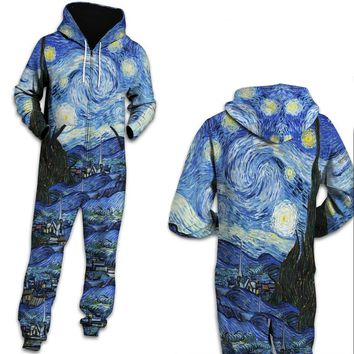 Van Gogh Classic 3D one piece jumpsuit unisex jump Sweatpants Casual Hooded Jumpsuits Rompers Fashion Tracksuits Playsuits