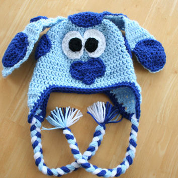 Crochet Puppy Hat, Crochet Dog Hat, Blues Clues Hat, Blue Dog Hat, crochet animal hat, Child sizes, 5T- Preteen
