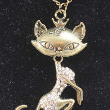 Cat Lover Necklace - Rhinestone/Bling Cat   #57W
