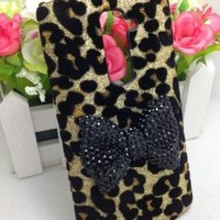 Bling Shiny 3D Pink Bow Leopard Special Party Case Cover For LG Optimus G2 D800 D801 D802 D803 VS980 F320 (Black Bow)