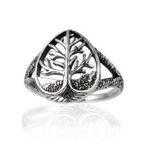 925 Sterling Silver 15 mm Detailed Celtic Tree of Life Tear Drop Shape Band Ring - Size 7