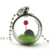 Terrarium Lorax Locket, Pom Pom Purple Truffula Tree on Green Grass Hill Needle Felted, Silver Finish Fun Gift Idea