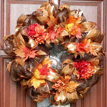 Fall Deco Mesh Wreath, Autumn Wreath, Harvest Wreath, Fall Decor, Harvest, Thanksgiving, Orange brown gold wreath