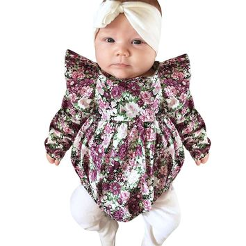 217 Spring Floral Print Long Sleeve Infant Baby Girls Romper Kids Rompers Jumpsuit Cotton Summer Style Outfit Sunsuit