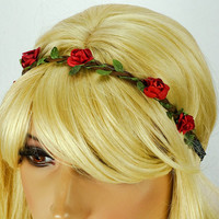 Red Flower Headband Rose Hippie Flower Headband Red Flower Crown Headband Red Boho Headband Red Flower Headpiece Music Festival Headpiece