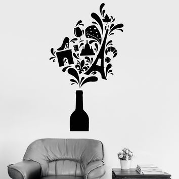 Vinyl Wall Decal Wine Bottle Europe France Paris Travel Stickers Unique Gift (ig2978)