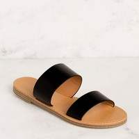 Katida Black Slide On Sandals