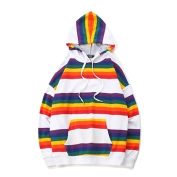 Swag Pullover Hoodies Harajuku Homme Color Block Unisex Rainbow Hoodie Stripe Korean Sweatshirt Men Hip Hop Streetwear Ulzzang