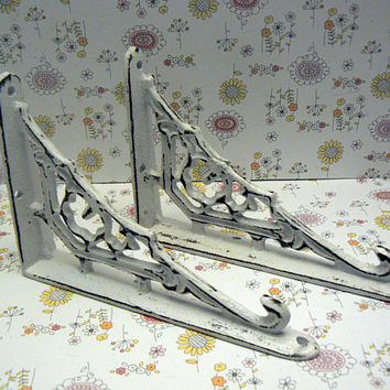 Wall Bracket Cast Iron Shelf Ornate Brace Shabby Style Chic Classic White Decorative Brackets Small Petite 1 Pair (2 individual brackets)