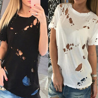 Fashion Summer Holes Sexy T-shirt Women O-neck Short Sleeve Ripped Hollow Out Tops Solid Casual Tee Shirts Blusas Z359