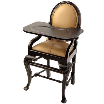 Oval Highchair in Distressed Black