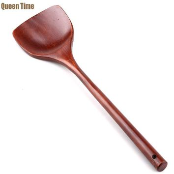 QueenTime Natural Wood Turners With Long Handle Not Stickt Pot Cook Frying Egg Steak Fish Cooking Utensils Kitchen Accessories