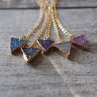 Small Triangle Druzy Necklace Agate Druzy Gold Filled Necklace Candy Color Drusy Pendant
