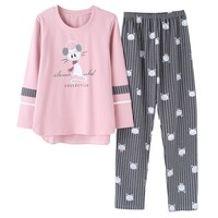 Autumn and winter cotton pajamas women leisure cute cartoonset of large size fashion Korean version of home clothes suit