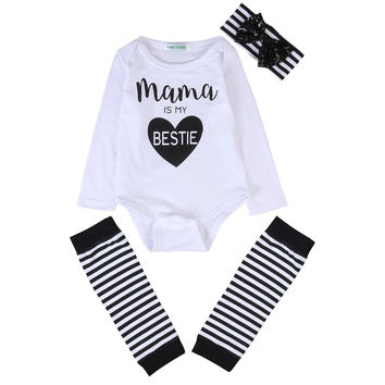 3PCS/ Mama is My Bestie Long Sleeved Romper+ Leg Warmer+ Ribbon Headgear set for Newborn NB Girls