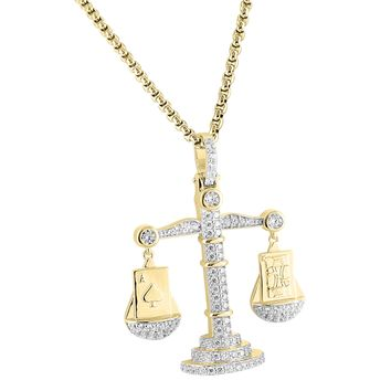 Iced Out Scale Of Justice Pendant 14k Gold Finish Ace Of Spades King Card Free Chain