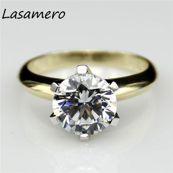 14KT Yellow Gold 6 Prong Solitaire 2 Carat Lab Diamond