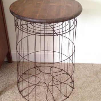 Vintage Metal Wire Laundry Basket Table