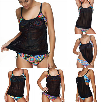 Push-Up Swimsuit Women Tankini Set Crochet Bikini 2017 Mesh Plus Size Bathing Suit Large Size Swimwear Female Biquini Beach Wear