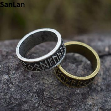 1pcs drop shipping Elder futhark Asatru Nordic celtic Viking Pagan Norse Rune Ring Vintage Men Jewelry SanLan