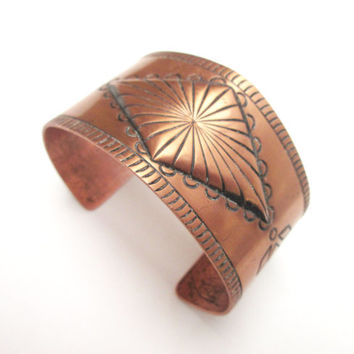 Wide Solid Copper tribal etched  Cuff Bracelet