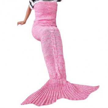 Adult Stylish Knitting Sleeping Bag Plum Pattern Fish Mermaid Tail Design Sofa Blanket