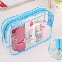 1PC Clear Travel Makeup Cosmetic Bag 3 Colors Women Toiletry BagTransparent Plastic PVC Bags Toiletry Zip Pouch 15*7*10.5cm