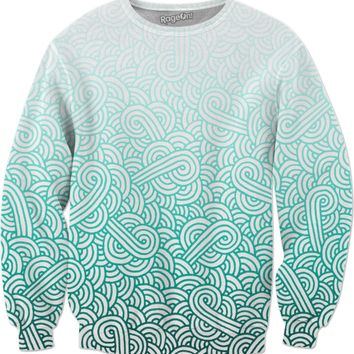 Gradient turquoise blue and white swirls doodles Sweatshirt