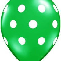 "5 Green with white Polka Dot 16"" Latex Balloon. Made in USA"