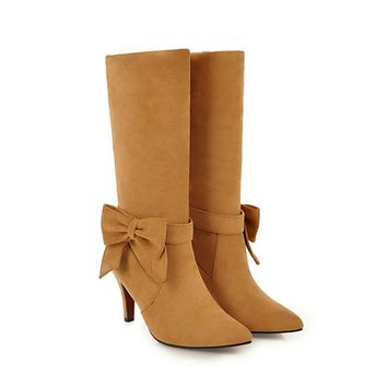 2018 Women Plus Size Mid Calf Boots Winter Butterfly Knot Snow Boots Female Fetish 8cm Suede Flock Red Yellow Heels Felt Shoes