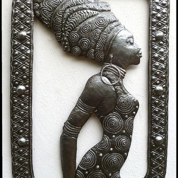 "Metal Wall Hanging -  Beautiful African Woman Ethnic Art - Haitian Steel Drum Metal Art -  Metal Home Decor - African Art - 21"" x 32"" - W102"