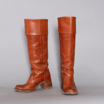 70s FRYE Campus BOOTS / Dark Caramel Brown Leather Foldover Cuff PIRATE Boots 6