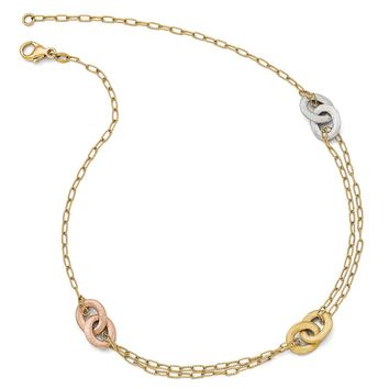14k Tri-Color Gold Textured Diamond-Cut Double Strand Necklace, 17 in